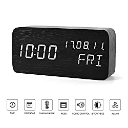 FiBiSonic-- Portable Black Wood Digital White Screen Clock LED Dual Power Alarm Clock, Display Time, Date, Week and Temperature Cube Wooden Voice Control Desk Clock