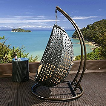 Buy Quatropi Outdoor 2 Person Garden Hanging Chair Black Rattan Beige Cushion Large Online At Low Prices In India Amazon In