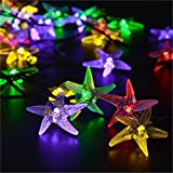 Solar Powered LED Starfish Fairy String Lights,YiMiky Waterproof 30 LEDs String Lamp Strung on a Path and Rapped Around the Trunk of a Tree for Christmas Party Decoration String Lighting(Colourful)