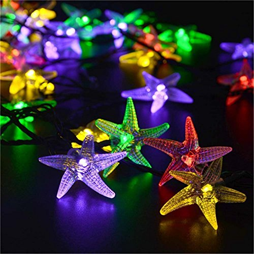 Solar Powered LED Starfish Fairy String Lights,YiMiky Waterproof 30 LEDs String Lamp Strung on a Path and Rapped Around the Trunk of a Tree for Christmas Party Decoration String Lighting(Colourful) by YiMiky