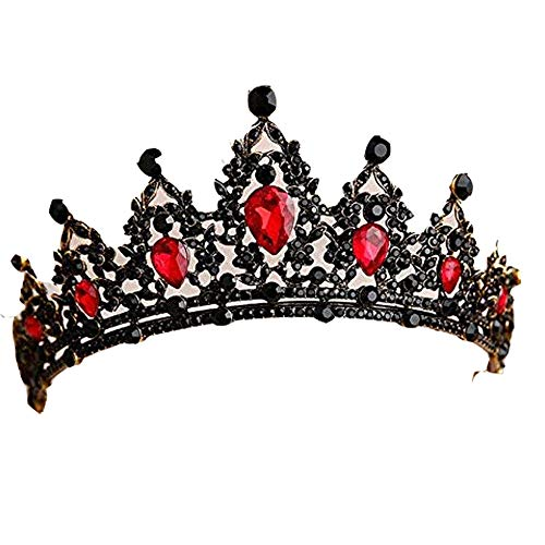 Baroque Black Red Green Crystal Heart Bridal Tiaras Crown Rhinestone Diadem Pageant Veil Tiara Headband Wedding Hair Accessories-Red (Wedding Tiara Red)