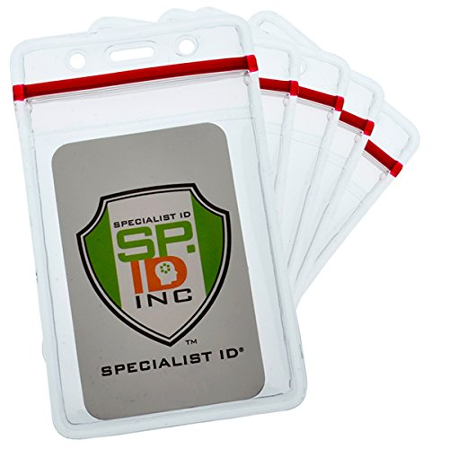 25 Pack - Heavy Duty Vertical Resealable Vinyl Badge Holders for Employee or Student ID - Clear Water Resistant Plastic with Red Ziplock Seal Holds Multiple Cards by Specialist ID