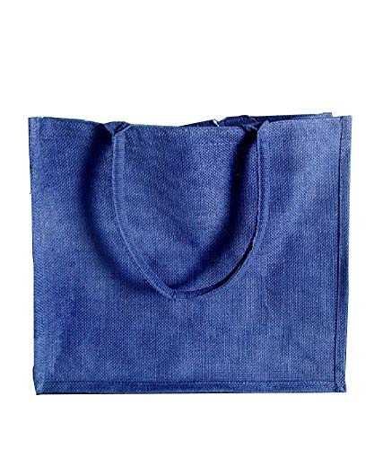 (Pack of 12) Jute/Burlap Tote Bags Soft Cotton Handles Laminated Interior (Large, Navy) ()