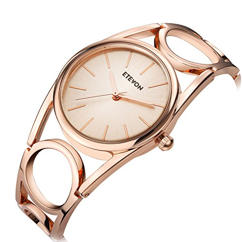 ETEVON Women Quartz Rose Gold Wrist Watch with Round-Hollowed Bracelet Stainless Steel Waterproof, Fashion Luxury Dress Bangle Watches for Woman Lady