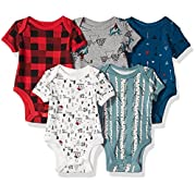 Rosie Pope Baby Boys 5 Pack Bodysuits (More Colors Available), Mountain Theme, 0-3 Months