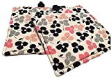 """Custom & Durable {6"""" Inch Each} 2 Set Pack of Small Size """"Non-Slip"""" Pot Holders Made of Cotton for Carrying Hot Dishes w/ Handmade Floral Pattern Design Style [White, Pink, Black, Grey, & Peach] offers"""