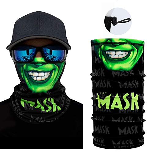 Skull Face Scarf Breathable Magic Neck Gaiter 3D Print Face Cover for Men/Women, Face-Green
