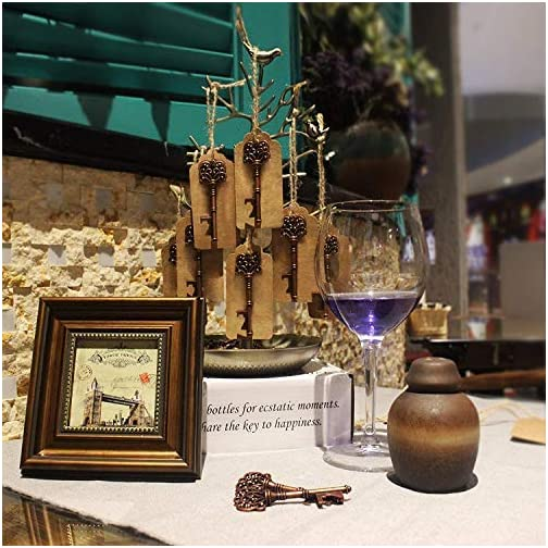 5pcs Wedding Favors Rustic Vintage Skeleton Key Bottle Opener with Escort Tag Card and Twine, party favors for adults by… |
