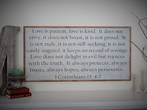Love is Patient 1 Corinthians 13 Wood Sign Distressed Wall Art Bible Verse Scripture Sign 4' x 2'