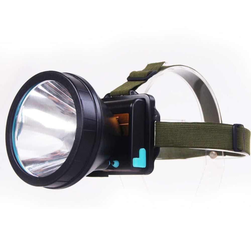 Liul Super Helles Helles Langes Licht des Scheinwerfers Führte Elektrische Ladungkopfhörer-Taschenlampe Im Freien Angeln Camping,Weiß