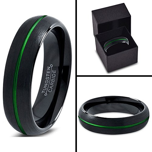 Tungsten Wedding Band Ring 6mm for Men Women Green Black Domed Brushed Polished Center Line Lifetime Guarantee