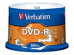Verbatim 4.7GB up to 16x Branded Recordable Disc AZO DVD-R 50-Disc Spindle 95101