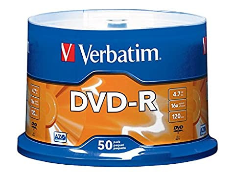 Verbatim 4.7GB up to 16x Branded Recordable Disc AZO DVD-R 50-Disc Spindle 95101 (Disk To Clean Computer)