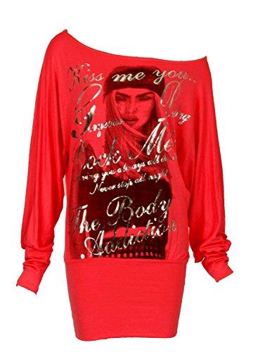 Fast Fashion - Camiseta sin mangas - Manga Larga - para mujer Rojo