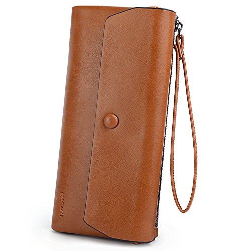 (UTO Women Wristlet Wallet Large Capacity Luxury Wax PU Leather Card Slot Zipper Phone Holder Purse Brown)