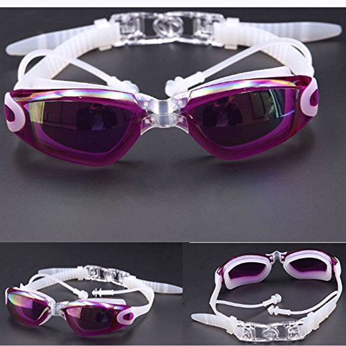 Grilong Swim Goggles, Swimming Goggles Anti Fog No Leaking Shatterproof UV Protection Wide view Swim Goggles + Silicone Ear Plugs + Free Protection Case for Adult Men Women Youth Kids Child (Purple)
