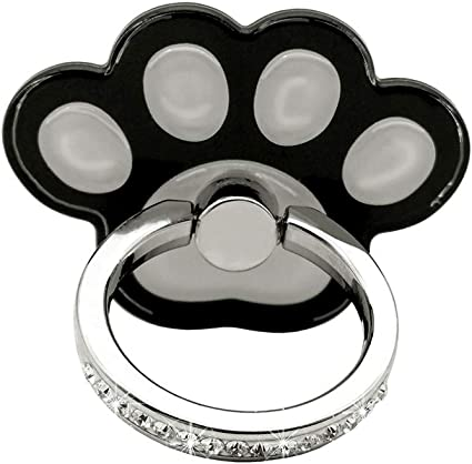 LoveStand-Cell Phone Ring Holder 360 Degree Finger Ring Stand for Smartphone Tablet and Car Mount-Black White paw Prints pet Animal