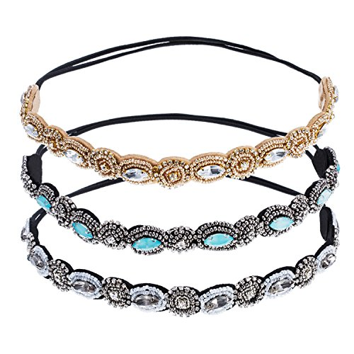 tone Crystal Beads Elastic Fashionable Handmade Hair Band for Women (3 Jeweled Bead)