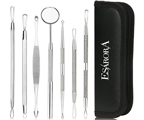 Price comparison product image ESARORA Blackhead Remover, Pimple Remover Set of 7 Professional Pimple Exctractor Tools More Easy to Remove Blackhead Acne Pimple and Facial Blemish (style2)
