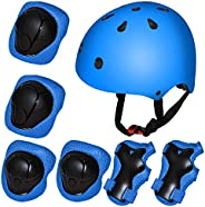 7 Pcs Kids Cycling Safety Protective, 3-9 Girls Boys Sports Bike Helmet and Knee Pads Elbow Pads Hand Pads for