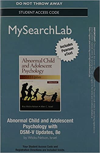 Book MySearchlab with Pearson Etext -- Access Code Card -- for Abnormal Child and Adolescent Psychology with DSM-V Updates