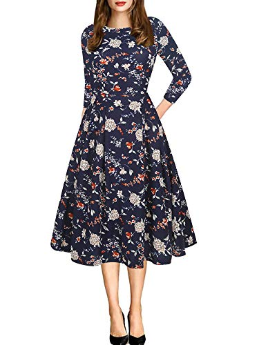 - oxiuly Women's Vintage Patchwork Pockets Puffy Swing Casual Party Dress OX165 (L, Floral Blue 7F)