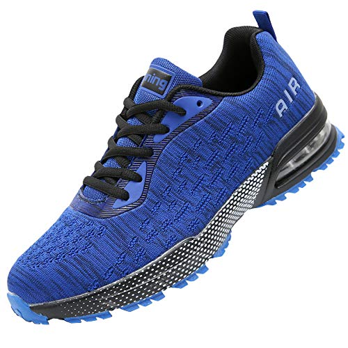 GANNOU Men Air Cushion Running Tennis Shoes Trail Lightweight Breathable Athletic Fitness Fashion Walking Sneakers (10.5 D(M) US, Blue)