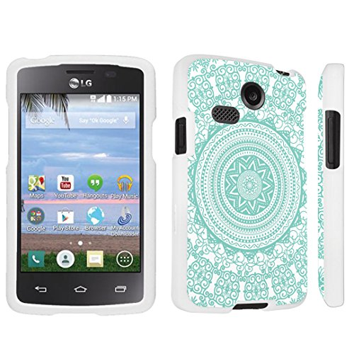 DuroCase ® LG Sunrise L15G / LG Lucky L16C (Released in 2015) Hard Case White - (Tribal Medallion Mint)