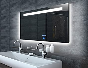 Touch Badezimmer Spiegel mit LED Beleuchtung Uhr mit Memory Funktion ...