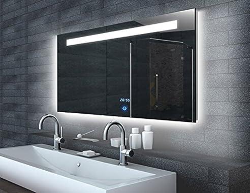 Touch Badezimmer Spiegel mit LED Beleuchtung Uhr mit Memory ...