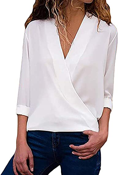 Chaqueta Mujer,Modaworld Blusa de Manga Larga para Mujer Camisa Casual de Las señoras Camisa de Trabajo de Oficina con Cuello en V: Amazon.es: Ropa y accesorios