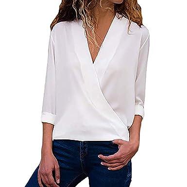 Camisetas para Mujeres SUNNSEAN Color Sóliso de Mangas Largas Cuello En V Casual Ligero de La