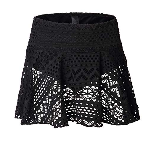 Pleated Flounce - Womens Swimsuit Flounce Skirt Bikini Tankini Bottom Swimwear Pleated Swim Skirt with Brief (Black Lace, Large)