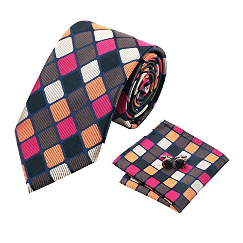YOHOWA Orange White Plaid Check Tie Set Mens Necktie Pocket Square Cufflinks