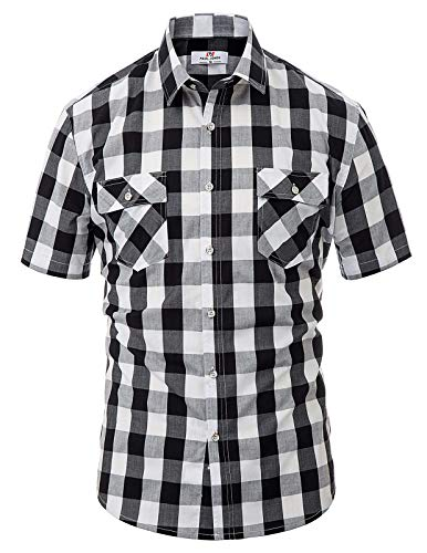 PAUL JONES Men's Shirt Sleeve Tartan Plaid Shirt Casual Button Down Shirt(Black, XXL)