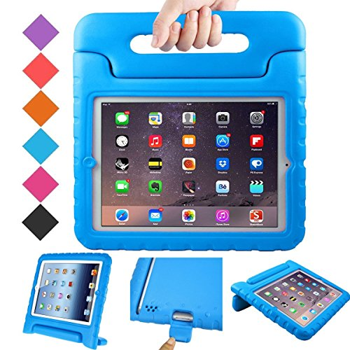 BMOUO ShockProof Convertible Handle Light Weight EVA Protective Stand Kids Case for Apple iPad 4, iPad 3 and iPad 2 - Blue - Child Protective Ipad Case