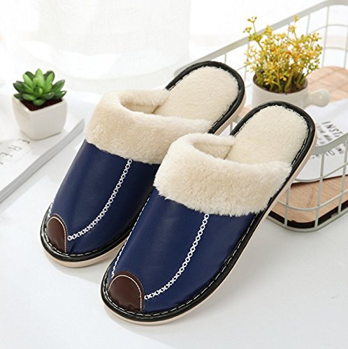 Winzik Women Men Winter Cotton Slippers Artificial PU Leather Plush Lining Anti-Slip Soles Couples House Slippers Indoor Warm Shoes Blue 0lMylH3x