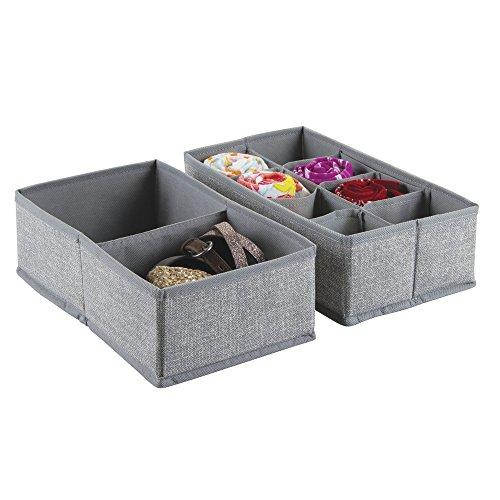 InterDesign Set of 2 Fabric Dresser Drawer Storage Organizer – Storage Solution for Underwear, Socks, Tights, Accessories, Gray