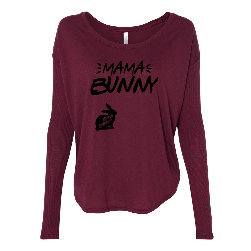 Venley Mama Bunny Baby Bunny CFC0006 Womens 2x1 Flowy Long Sleeve Tee