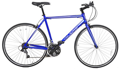 Vilano Performance Hybrid Bike Small (50cm) Flat Bar Road Bike Shimano 21 Speed 700c Bicycle, Blue