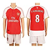 2015/16 Gunners #8 Ljungberg Home Kids Youth Soccer Jersey Kit Set