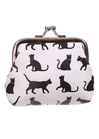 Cat Silhouette Cute Kitty Cats Women s Coin Purse Tic Tac Wallet White White   Amazon.co.uk  Clothing fabd3126ee9f0