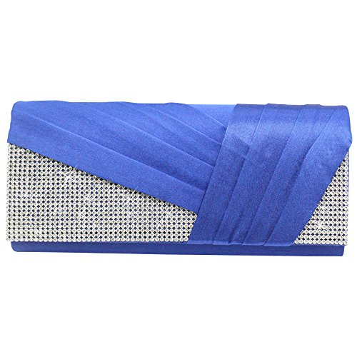 Wocharm Womens Fashion Practical Chic Rhinestones Pleated Satin Evening Party Purse Handbag (Royal (Collection Pleated Shoulder Bag)
