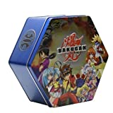 Blue, Silver, Black, Or Green Bakutin Collectors Tin Filled With 18 Bakugan, B2 Bakupearl, Bakugan Series 1 And /Or Heavy Metal Bakugan Random Marbles With 36 Cards!