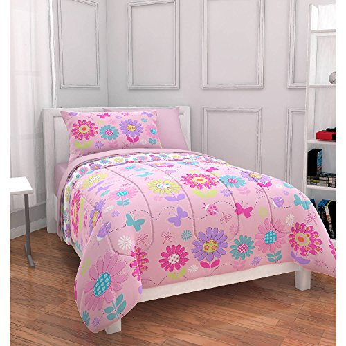 - Twin Size Bag Bedding Set Kids Daisy Floral Bed, Floral Pink