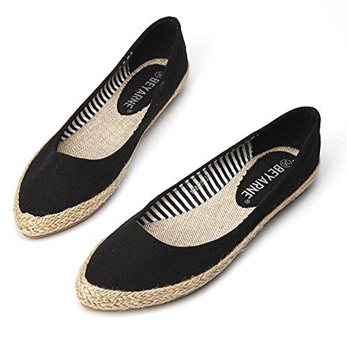 Easemax Damesmode Puntschoen Laag Uitgesneden Canvas Geweven Platte Schoenen Schoenen Zwart