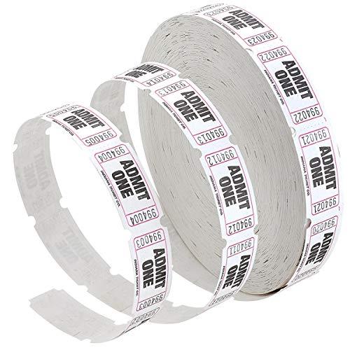 Admit 1 Single Ticket Rolls - White - 2000 Per Roll - Carnival Tickets - Concert Tickets - Admission Tickets Admit One Ticket Roll
