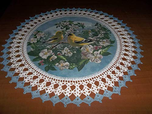 Crocheted Doily Yellow Canarys Finches Apple Blossoms Fabric Center Doily Crocheted Edge Lace Doily Handmade Centerpiece Table Topper Gift 20 Inches