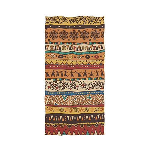 Naanle Chic Stylish African Tribal Pattern Vintage Style Soft Highly Absorbent Large Hand Towels Multipurpose for Bathroom, Hotel, Gym and Spa (16
