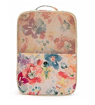 Women's Waterproof Pink Floral Golf Shoes Bag Zipped Sports Bag Shoe Case Travel Shoe Bag Large